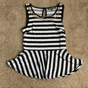 Almost Famous black and white striped peplum top